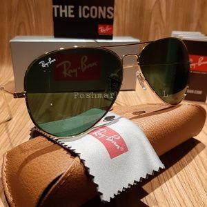 Ray-Ban Aviator Classic Green Lense / Gold Frame